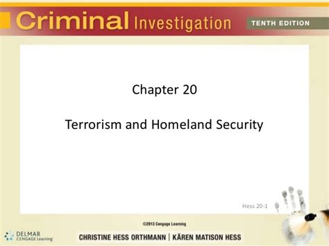 terrorism and homeland security chapter 20 terrorism and homeland security