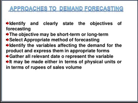 Objectives Of Demand Forecasting Mba managerial economics demand forecasting ppt