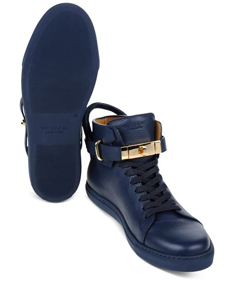 buscemi sneakers mens buscemi blue leather high top sneakers for lyst