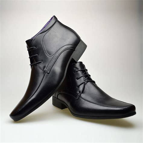 black boots mens shoes mens black leather smart formal casual lace up boots shoes
