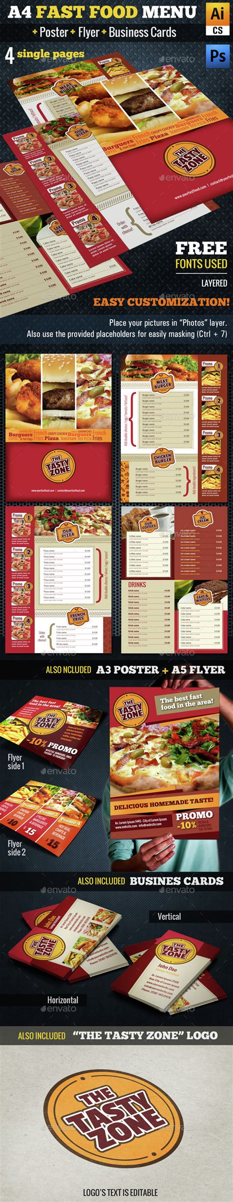 fast food menu card templates a4 fast food menu poster flyer cards by