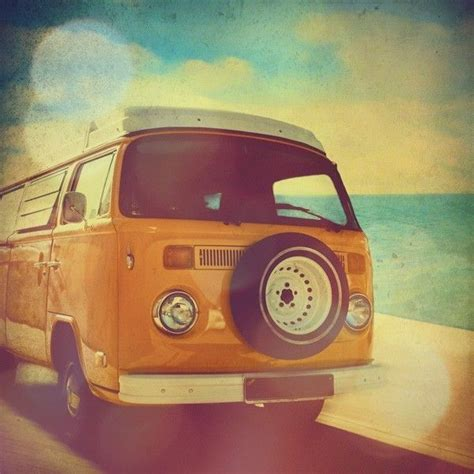 orange volkswagen van surfer van vw kombi photo surf beach summer orange
