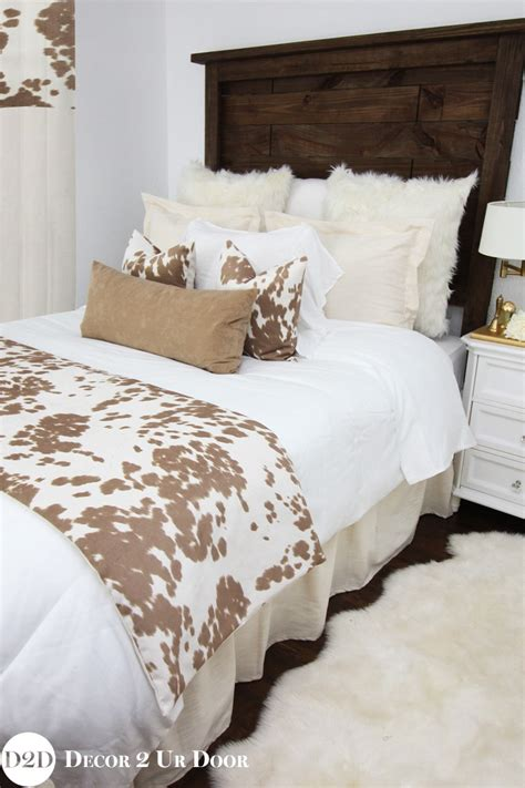 tan cowhide custom designer apartment bedding collection