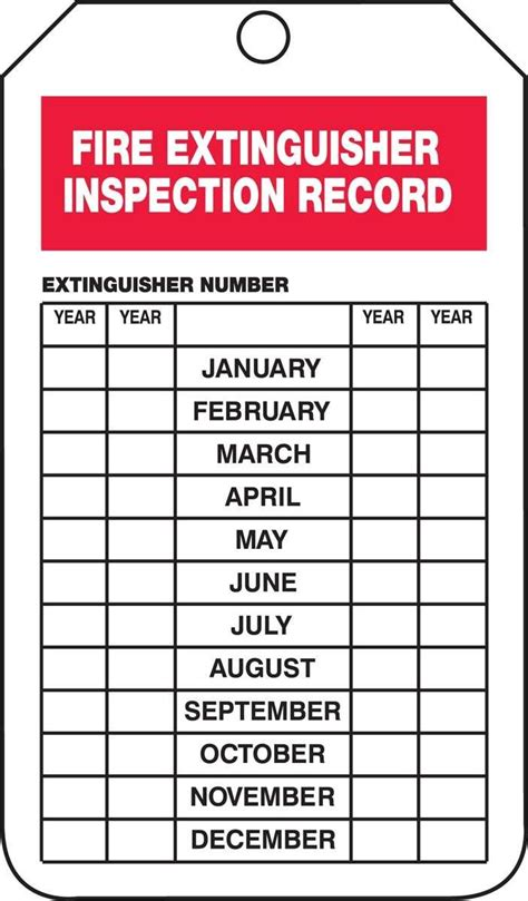 Fire Extinguisher Inspection Certification Fast Fire Extinguisher Inspection Tags Free Printable Free Extinguisher Inspection Tags Template