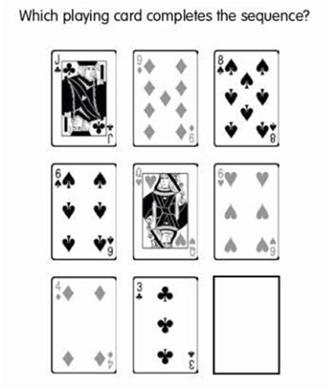 logic board games printable which playing card completes the sequence brain games