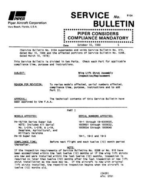 Service Letter Piper Service Bulletin Index Piper Aircraft Inc