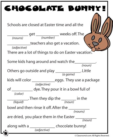 mad libs printable easter word search for