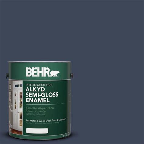 behr paint colors navy behr 1 gal ae 42 academic navy semi gloss enamel alkyd