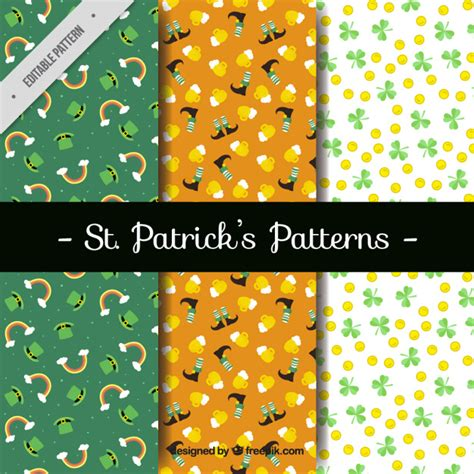 pattern collection download colorful st patrick s day pattern collection vector free