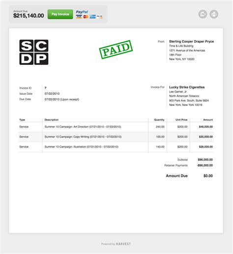 harvest invoice template logos screenshots harvest