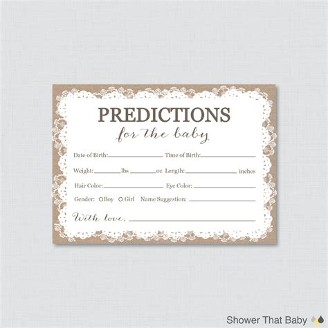 guess the baby weight template burlap and lace baby shower prediction cards instant