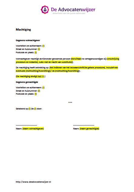 bedrijf aan huis voorbeelden voorbeeld machtiging gratis download de advocatenwijzer