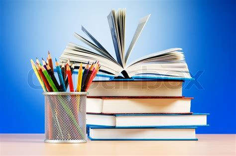 pictures of books and pencils back to school concept with books and pencils stock