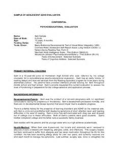 Psychoeducational Report Sample Sample Of Adolescent Adhd Evaluation Meet The Faculty