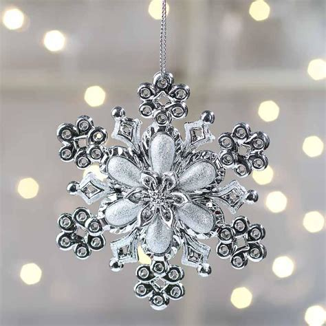 sparkling silver snowflake ornament christmas ornaments