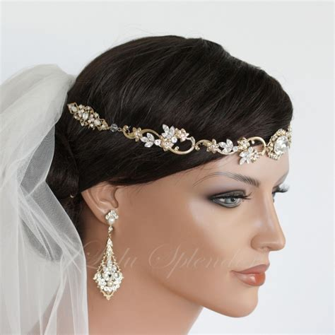 Vintage Wedding Hair Bands by Wedding Hair Accessory Gold Forehead Band Vintage Headband