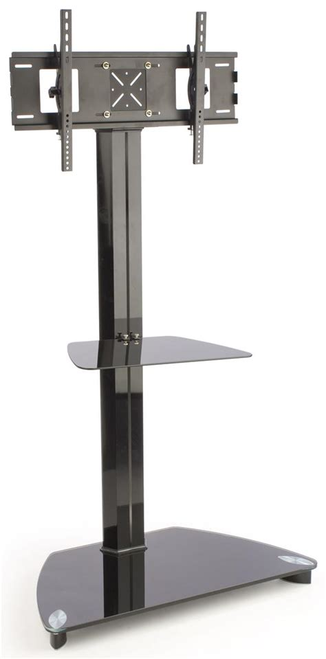 lcd tv stand black flat panel rack with glass shelf and base