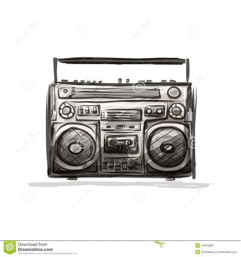 retro cassette recorder sketch for your design stock