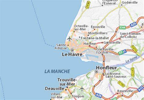 le havre map map of le havre michelin le havre map viamichelin