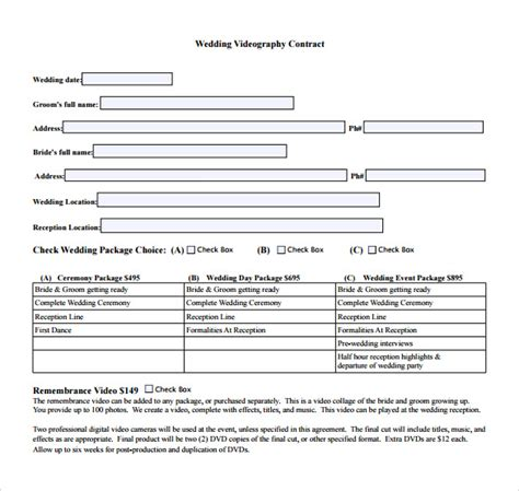 wedding contract template wedding contract template 19 free documents in