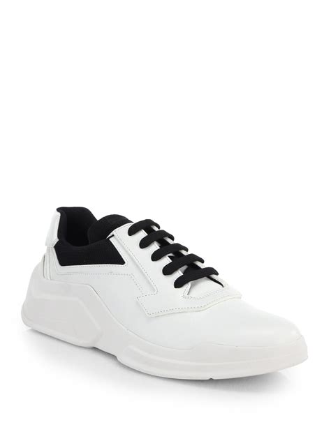 prada sneakers prada spazzolato laced runway sneakers in white for lyst