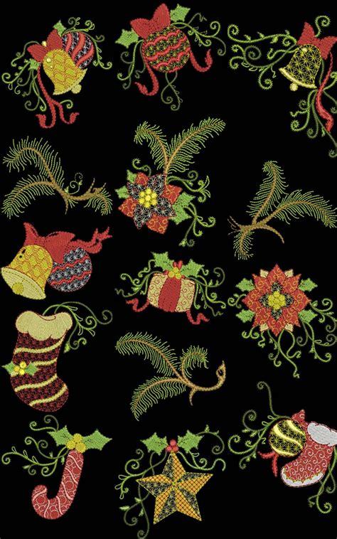 curls  swirls christmas machine embroidery designs