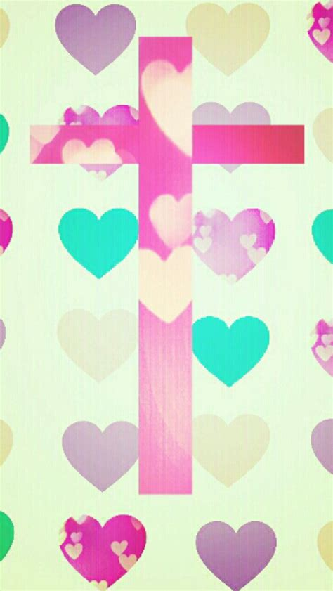 girly cross wallpaper cross and hearts wallpaper cute backgrounds pinterest
