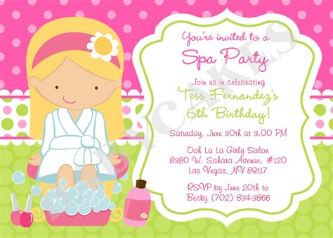 spa invitations templates free spa birthday invitations theruntime