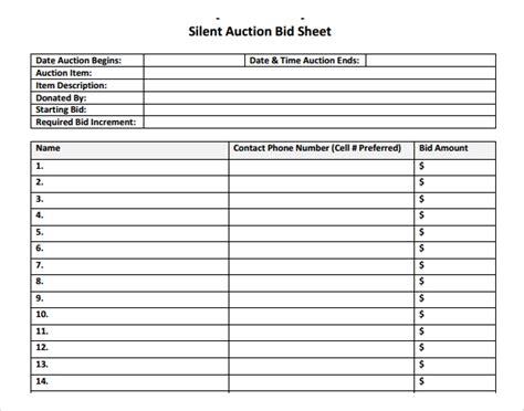 silent auction bid sheet template microsoft word oyle kalakaari co
