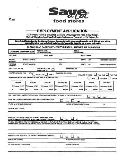 save a lot employment application by bardstown rd save a