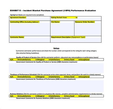 blanket purchase agreement templates    documents   word