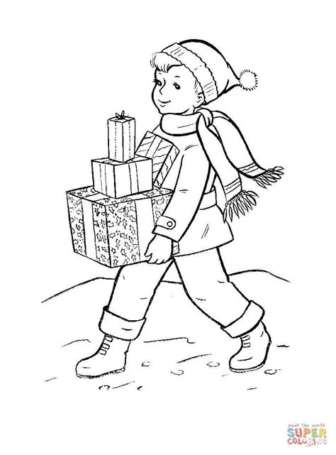 christmas coloring pages for mom and dad boy is bringing chritmas gifts to his famliy coloring page