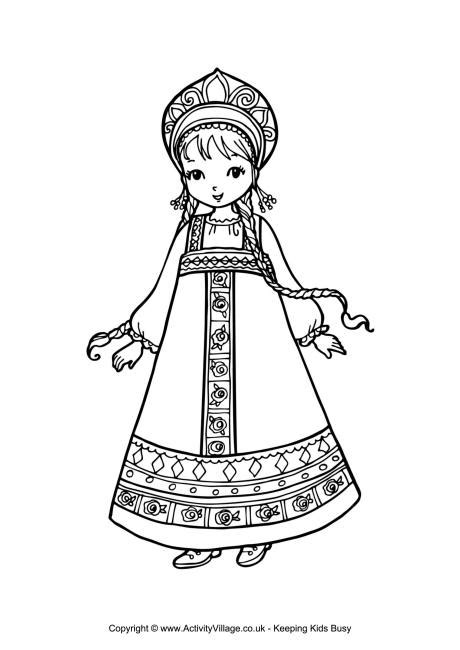 russian boy coloring page russian girl colouring page