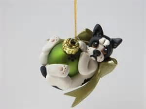 french bulldog christmas ornament polymer clay by