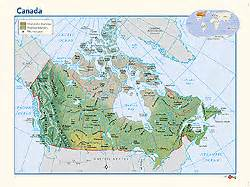 canada physical wall map by geonova