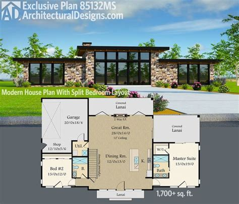 split two bedroom layout plan 85132ms exclusive modern house plan with split