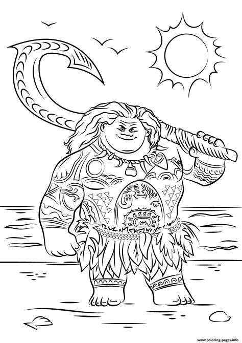 Maui From Moana Cool Coloring Pages Printable Cool Coloring Pictures For Free