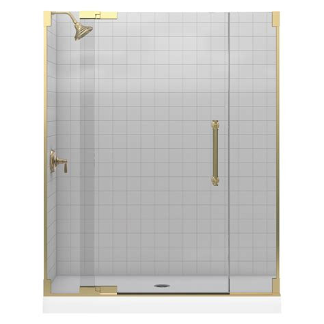 Lowes Bathroom Shower Doors Shop Kohler Bronze Frameless Pivot Shower Door At Lowes