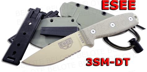 Swiss Army Hardmika Dt esee model 3 desert serrated blade rounded pommel foliage grn sheath 3sm dt ebay