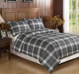 3pc black dark grey plaid flannel feel down alternative