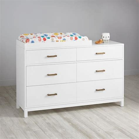 changing table dresser white cargo 6 drawer white changing table the land of nod