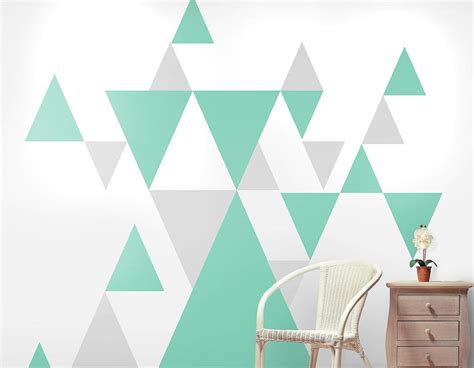 Pattern Wall Decals Uk | geometric pattern giant wall sticker set contemporary