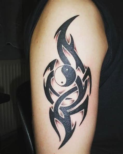 black ink tribal and nice yin yang tattoo design golfian com