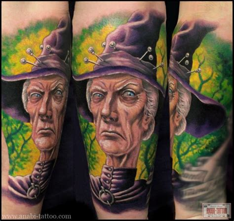 cartoon witch tattoo cartoon style colorful forearm tattoo of evil witch