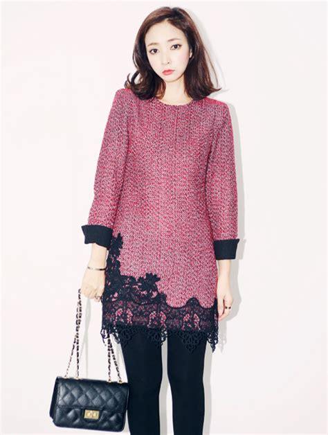how to hem knit dress aura j lace hem knit dress kstylick korean