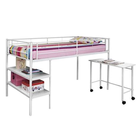 Twin Metal Loft Bed With Desk White Walmart Ca White Metal Loft Bed With Desk