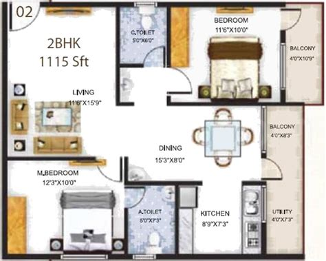 serenity floor plan 1115 sq ft 2 bhk 2t apartment for sale in baldota group serenity hosa road bangalore
