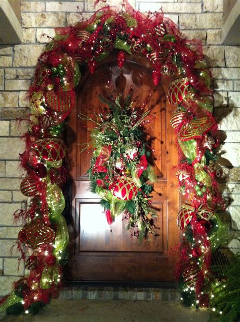 christmas front door decor christmas front door holiday pinterest