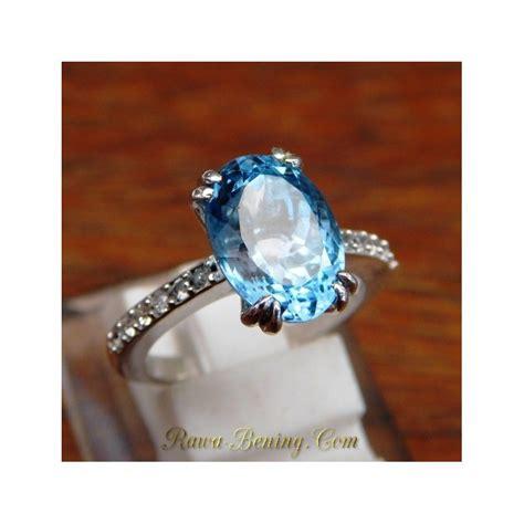 Cincin Blue Topaz cincin emas wanita 14k permata swiss blue topaz size 6us