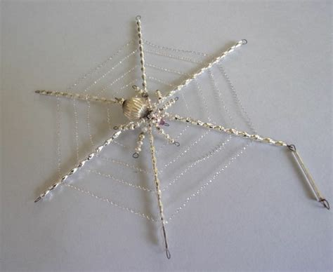 vintage bohemian glass beaded spider in web christmas ornament